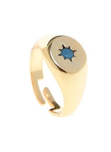 Loves You Yıldız Taşlı Oval Yüzük Altın